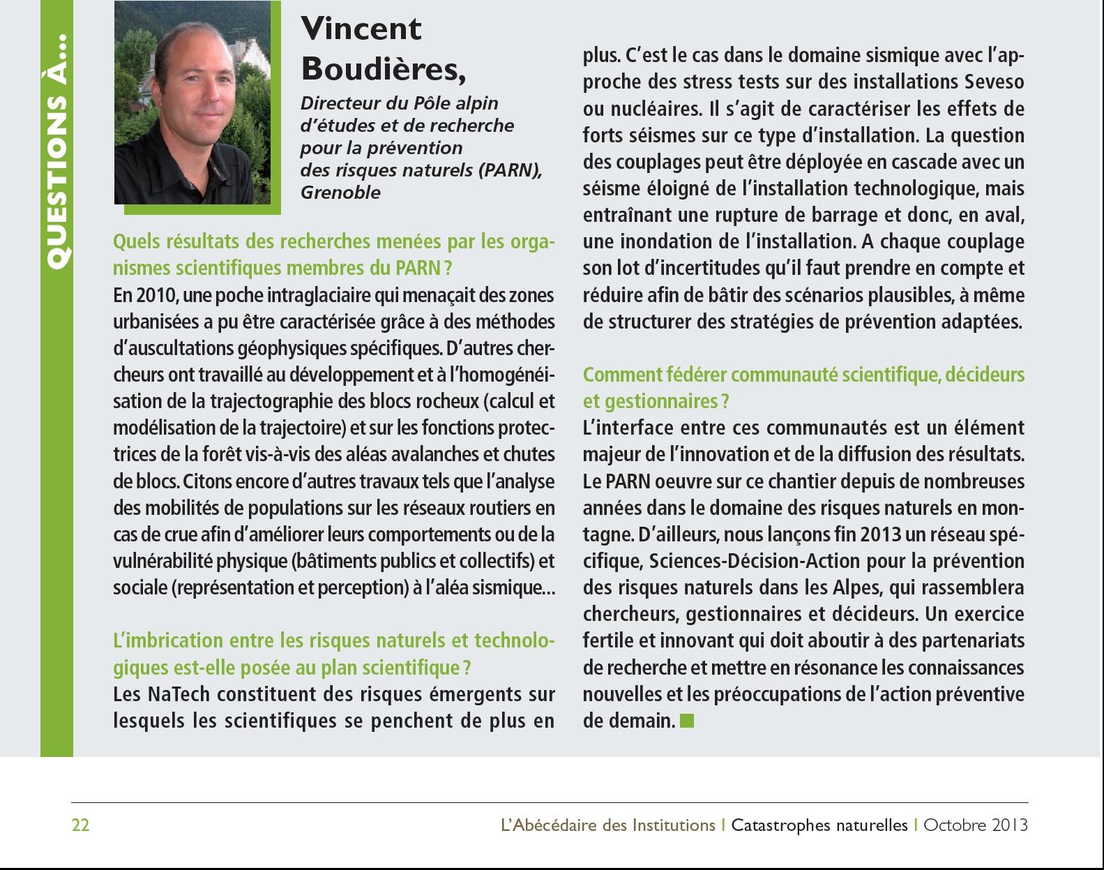 Interview De Vincent Boudieres Dans L Abecedaire Des Institutions Pole Alpin D Etudes Et De Recherche Pour La Prevention Des Risques Naturels Parn